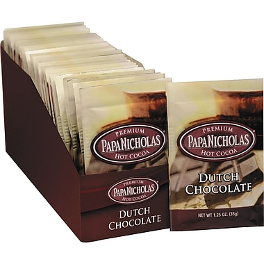 Papa Nicholas® Premium Hot Cocoa, Dutch Chocolate, 1.25 oz., 24 Packets