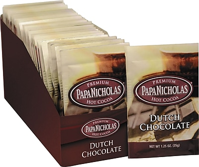 Papa Nicholas® Premium Hot Cocoa, Dutch Chocolate, 1.25 oz., 24 Packets
