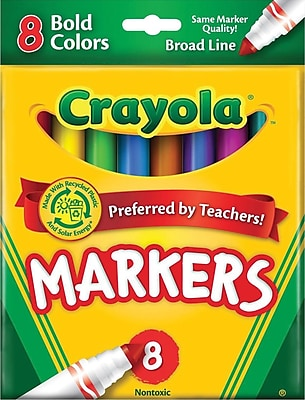 Binney & Smith Crayola® Bold Markers, Assorted Colors, 8/Pk