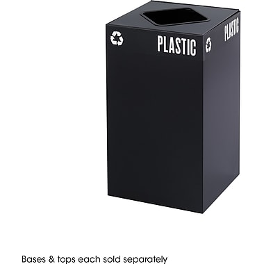 Safco Public Square 25 gal. Stainless Steel Recycling Receptacle, Black