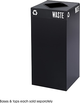 Safco Public Square 31 gal. Stainless Steel Recycling Receptacle, Black