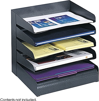 Safco® Black Desk Tray Sorter, 5-Compartments (3127BL)