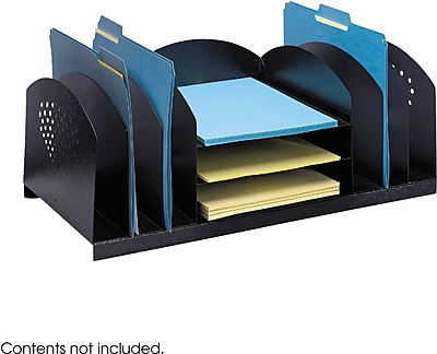 Safco® 3168 Black Combination Desk Rack, 3 Horizontal and 6 Upright