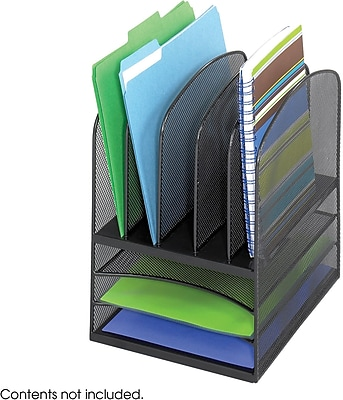 Safco® Onyx Mesh Desktop Organizer with Three Horizontal and Five Upright Sections, Black (3266BL)