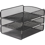 "Safco® Steel Onyx Triple Tray 8"" x 9 1/4"" x 11 3/4"", Black (3271BL)"