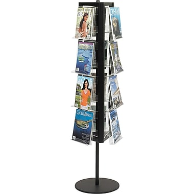 Safco® 12-Pocket In-View Rotary Steel Literature Display, Black