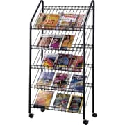 Safco 5-Pocket Wired Mobile Literature Rack, Charcoal