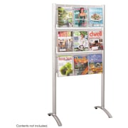Safco 9-Pocket Luxe Aluminum Magazine Floor Rack, Silver