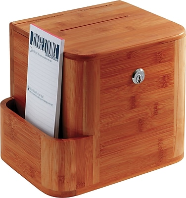 Safco 4237CY Bamboo Suggestion Box, Cherry
