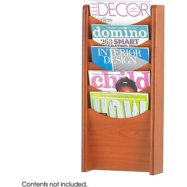 Safco® 5-Pocket Wood Magazine Rack, Cherry