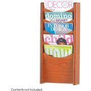 Safco 5-Pocket Wood Magazine Rack, Cherry