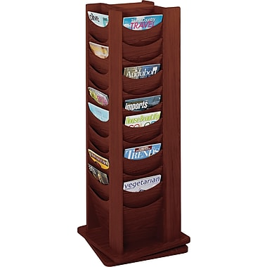 Safco Solid Wood Rotating Display, 48 Pockets, Mahogany, 49 1/5