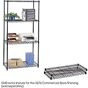 """Safco Commercial Extra 2-Shelf Metal Shelf, 36"""", Black (5243BL)"""