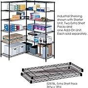 """Safco Industrial 2-Shelf Metal Extra Shelf, 36"""", Black (5287BL)"""