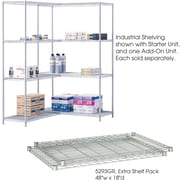 "Safco® 5293 Steel Industrial Extra Shelf Pack, 48""(W) x 18""(D), Metallic Gray"