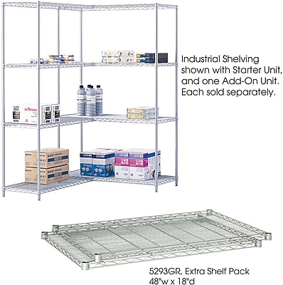 Safco® 5293 Steel Industrial Extra Shelf Pack, 48