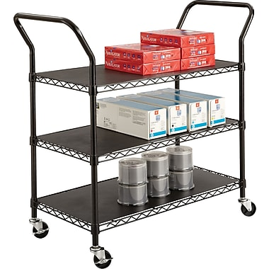 Safco® 5338 Wire Utility Cart, 3 Shelves, Black
