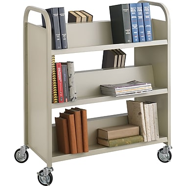 Safco® 5357 Double-Sided Book Cart, Sand