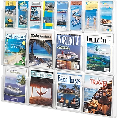 Safco® Reveal™ 5611 Literature Display With 16 Pockets, Clear