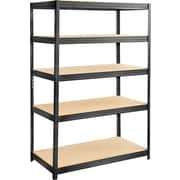 "Safco® 6244 Boltless Steel and Particleboard Shelving, 48""(W) x 24""(D), Black"