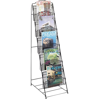 Safco 5-Pocket Onyx Steel Mesh Floor Rack, Black