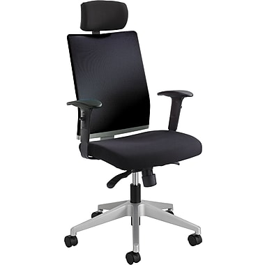 Safco Tez Fabric Managers Office Chair, Adjustable Arms, Black (7030BL)