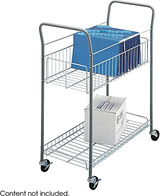 Safco® Economy Tubular Steel Frame and Chrome Plated Baskets Mail Cart, Silver