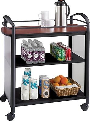 Safco® Impromptu® 8967 Beverage Cart, Cherry Top and Black Frame
