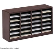 "Safco E-Z STOR® 24 Compartment Wood Literature Organizer, 40"" x 11 3/4"" x 23"", Mahogany"