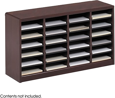 Safco E-Z Stor® Wood Literature Organizer, 24 Compartments, Mahogany, 23