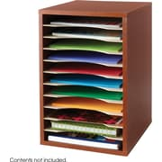 Safco® 9419 Wood Desktop Sorter, 11 Compartments, Cherry (9149CY)