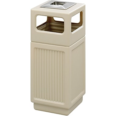 Safco Canmeleon 15 gal. Plastic Trash Can without Lid, Tan