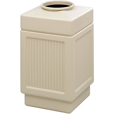 Safco Canmeleon 38 gal. Plastic Open Top Recessed Panel without Lid, Tan
