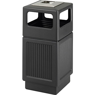 Safco Canmeleon 38 gal. Plastic Recycling Receptacle with Ash Urn, Black