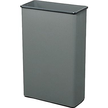 Safco 22 gal. Rectangular Stainless Steel Trash Cans without Lid, Charcoal