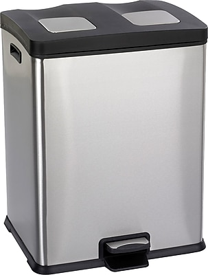 Safco 15 gal. Right-Size Stainless Steel Recycling Receptacle, Silver