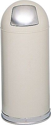 Safco 15 gal. Stainless Steel Push Door Dome Top Receptacle, Putty