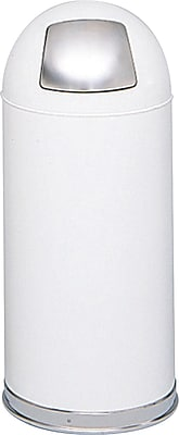 Safco 15 gal. Stainless Steel Push Door Dome Top Receptacle, White