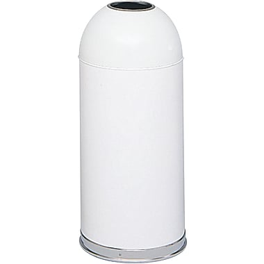 Safco® 15 gal. Stainless Steel Open Top Dome Receptacle, White