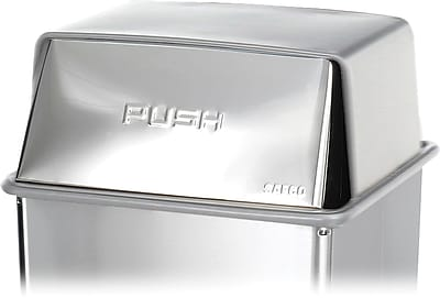 Safco 36 gal. Stainless Steel Push Top Lid, Silver