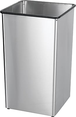 Safco 36 gal. Rectangular Stainless Steel Receptacle Base Trash can, Silver