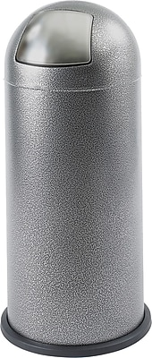 Safco 15 gal. Stainless Steel Push Top Dome Receptacle, Black Speckle