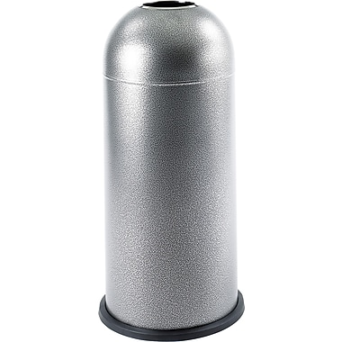 Safco 15 gal. Stainless Steel Open Top Dome Receptacle, Silver