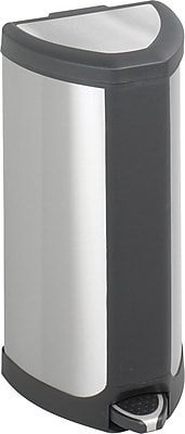 Safco 4 gal. Stainless Steel Step Trash Can, Silver