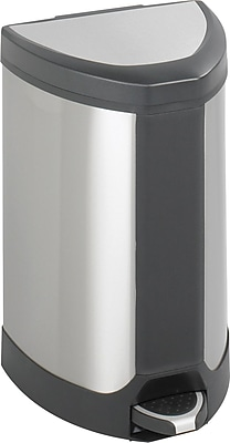 Safco 7 gal. Stainless Steel Step Trash Can, Silver
