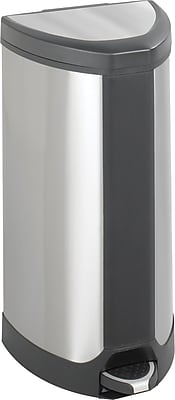 Safco 10 gal. Stainless Steel Step Trash Can, Silver