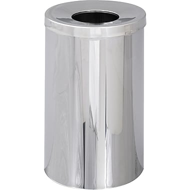 Safco Reflections 35 gal. Stainless Steel Open Top Receptacle, Silver