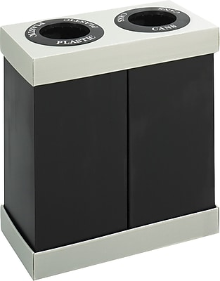 Safco At-Your-Disposal Double Bin 28 gal. Polyethylene Recycling Bins, Black