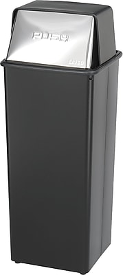 Safco Reflections 21 gal. Stainless Steel Push Top Recycling Receptacle, Black
