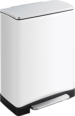 Safco 13 gal. Square Stainless Steel Step Trash Can, White